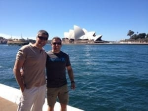 Wayne showing off the beautiful background of Sydney