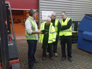 Forklift training for Roger, Myles and Piotr