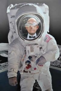 Neil as a spaceman at the Space Centre